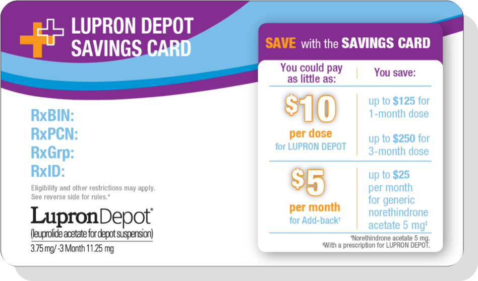 Savings card for patients with endometriosis